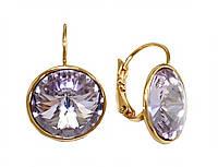 Серьги ХР, позолота.Камни: Swarovski (фиолетового цвета). Диаметр серьги: 16 мм. Высота: 2,5 см.