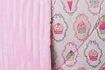 """Плед детский с полосатым плюшем Minki  """"Пирожные"""" Нежно-Розового цвета, фото 4"""