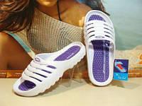 Сланцы женские Super Cool бело-фиолетовые 37 р., фото 1