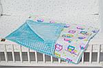 """Плед для младенца  с полосатым плюшем Minki  """"Цветные совушки"""" Голубого цвета, фото 2"""