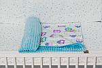 """Плед для младенца  с полосатым плюшем Minki  """"Цветные совушки"""" Голубого цвета, фото 3"""