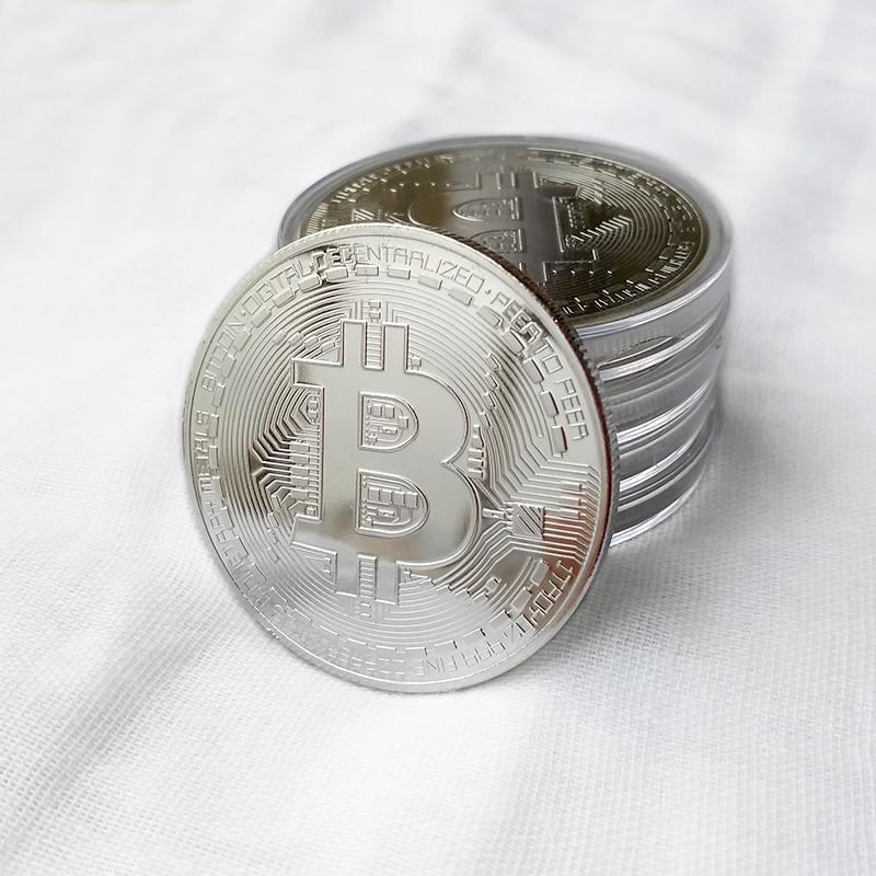 Монета сувенирная Bitcoin посеребренная