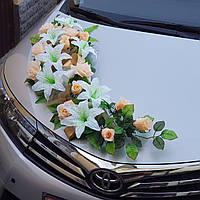 Композиция из цветов на капот свадебной машины