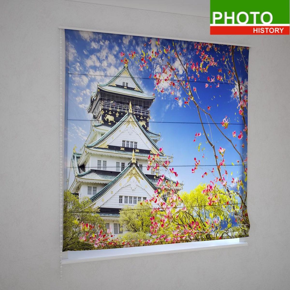 Римские шторы  цветущая сакура в Китае