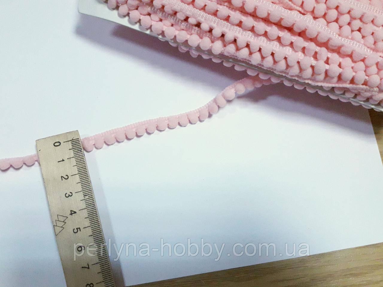 Тасьма декоративна з помпонами тонка 6-7 мм, рожева