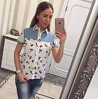 Летняя рубашка из коттона Вишенки белый, фото 1