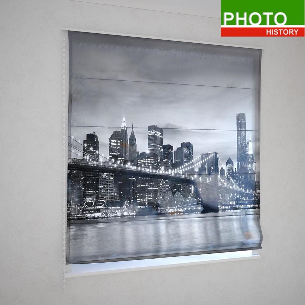 Римские шторы  черно - белое фото города