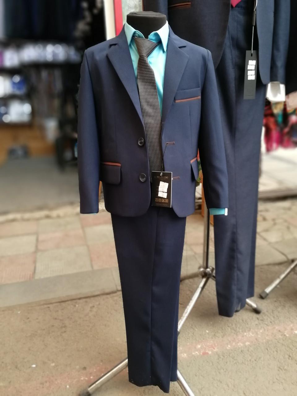 Костюм для хлопчика синій в мікро-клітку ТМ Golden Style (шкільна форма)