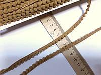 Тасьма декоративна з помпонами  тонка  5-6мм,  бежево-гірчична