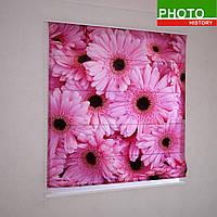 Римские фотошторы розовые герберы