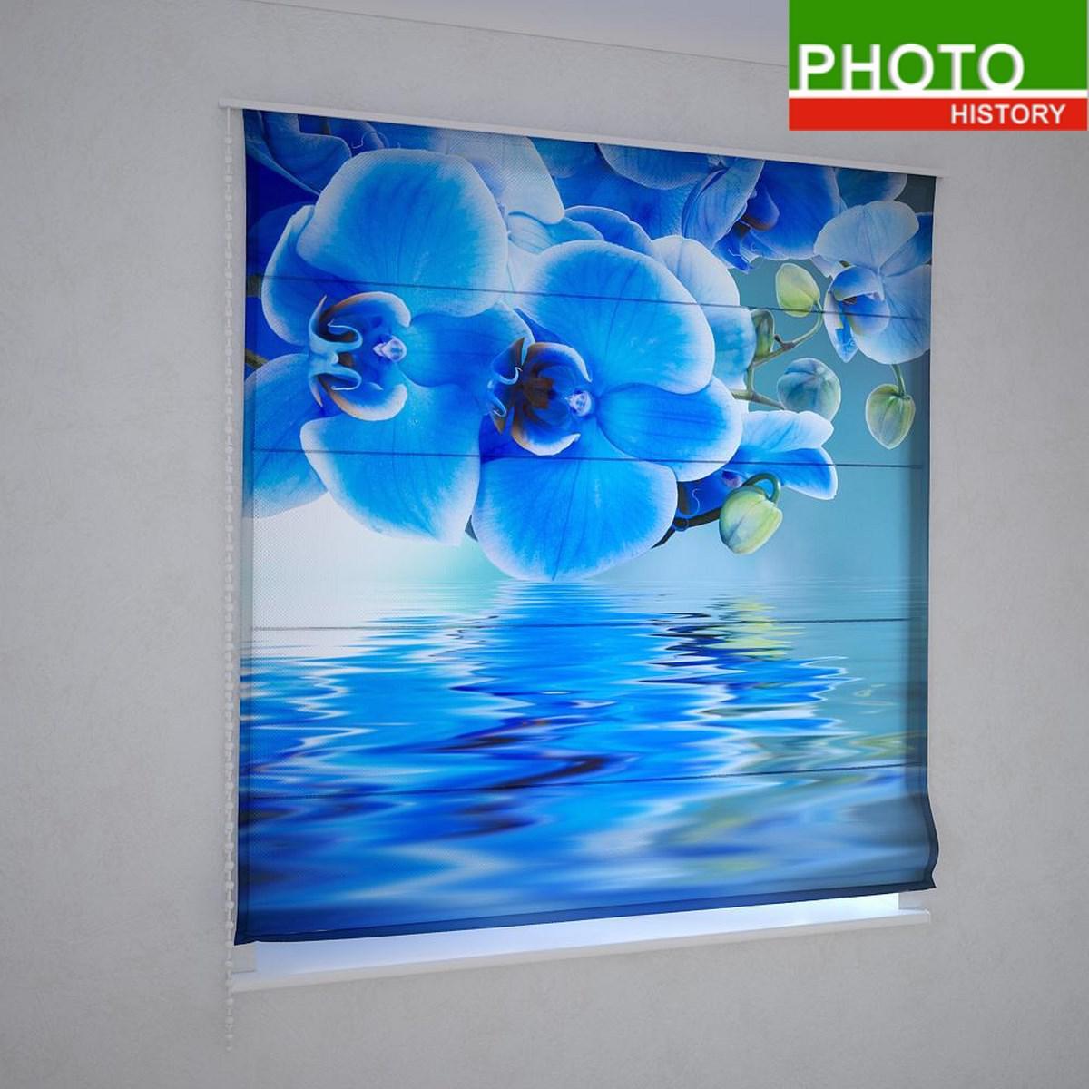 Римские фотошторы синяя орхидеи над водой