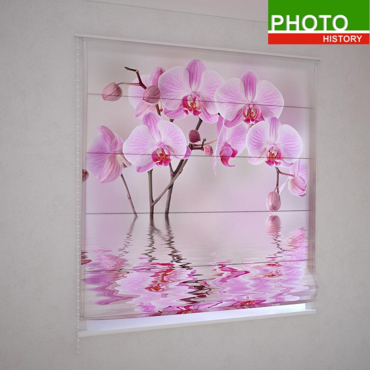Римские фотошторы  розовая орхидея в воде