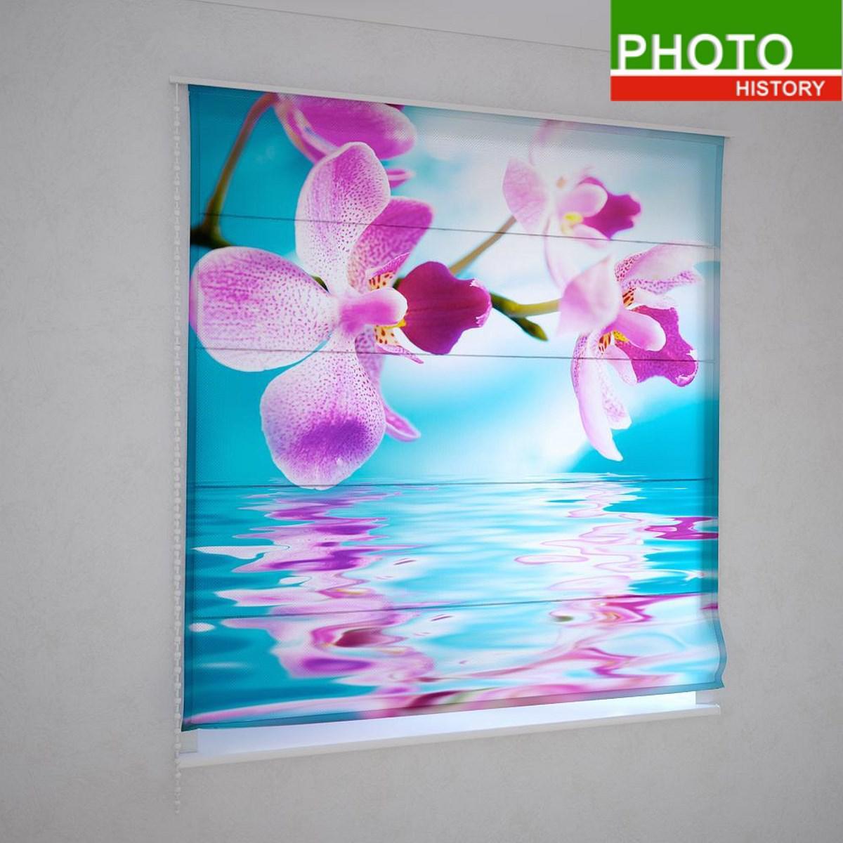 Римские фотошторы розовая орхидея над водой