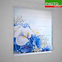 Римские фотошторы  нежные сине - белые цветы