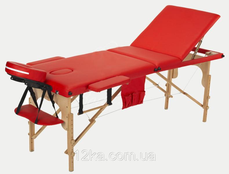Массажный стол BodyFit, 3 сегментный,деревянный Красный