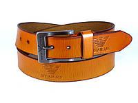 Ремень кожаный GIORGIO ARMANI 4 см с классической пряжкой, ремень АРМАНИ кожаный для джинсов. РЫЖИЙ (реплика)