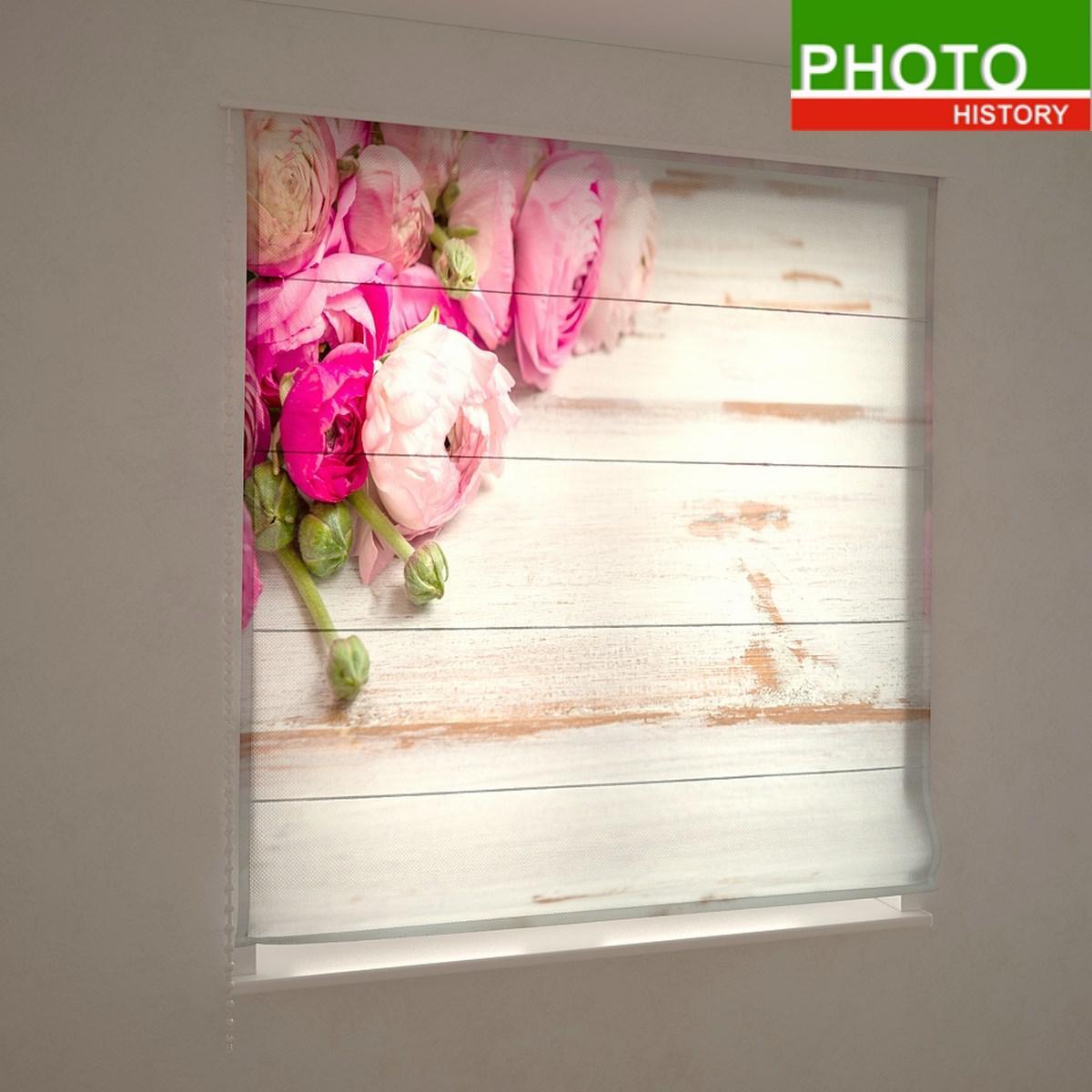 Римские фотошторы цветы розовые пионы