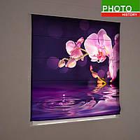 Римские фотошторы орхидеи на фиолетовом фоне
