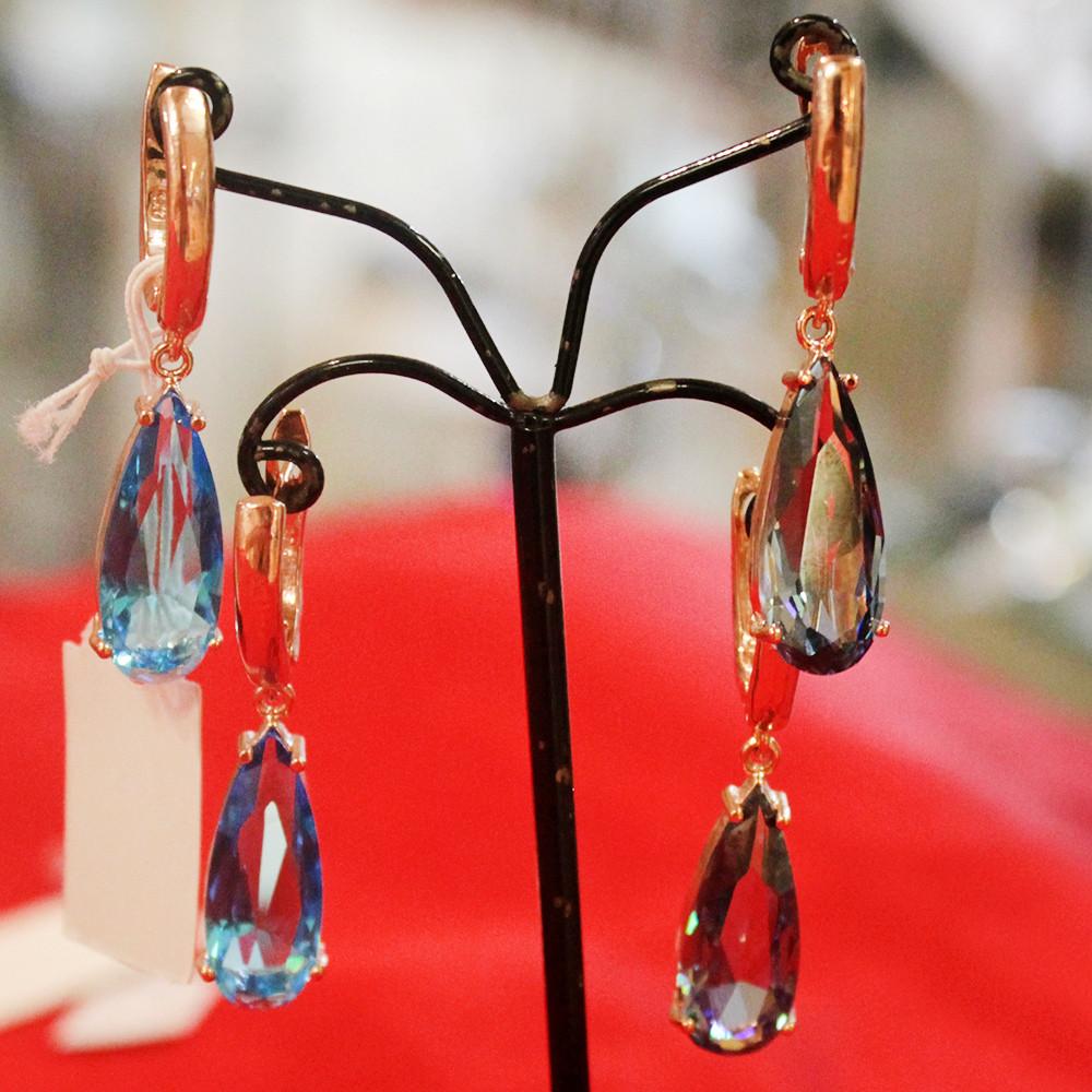 Серьги в форме капель из стекляруса