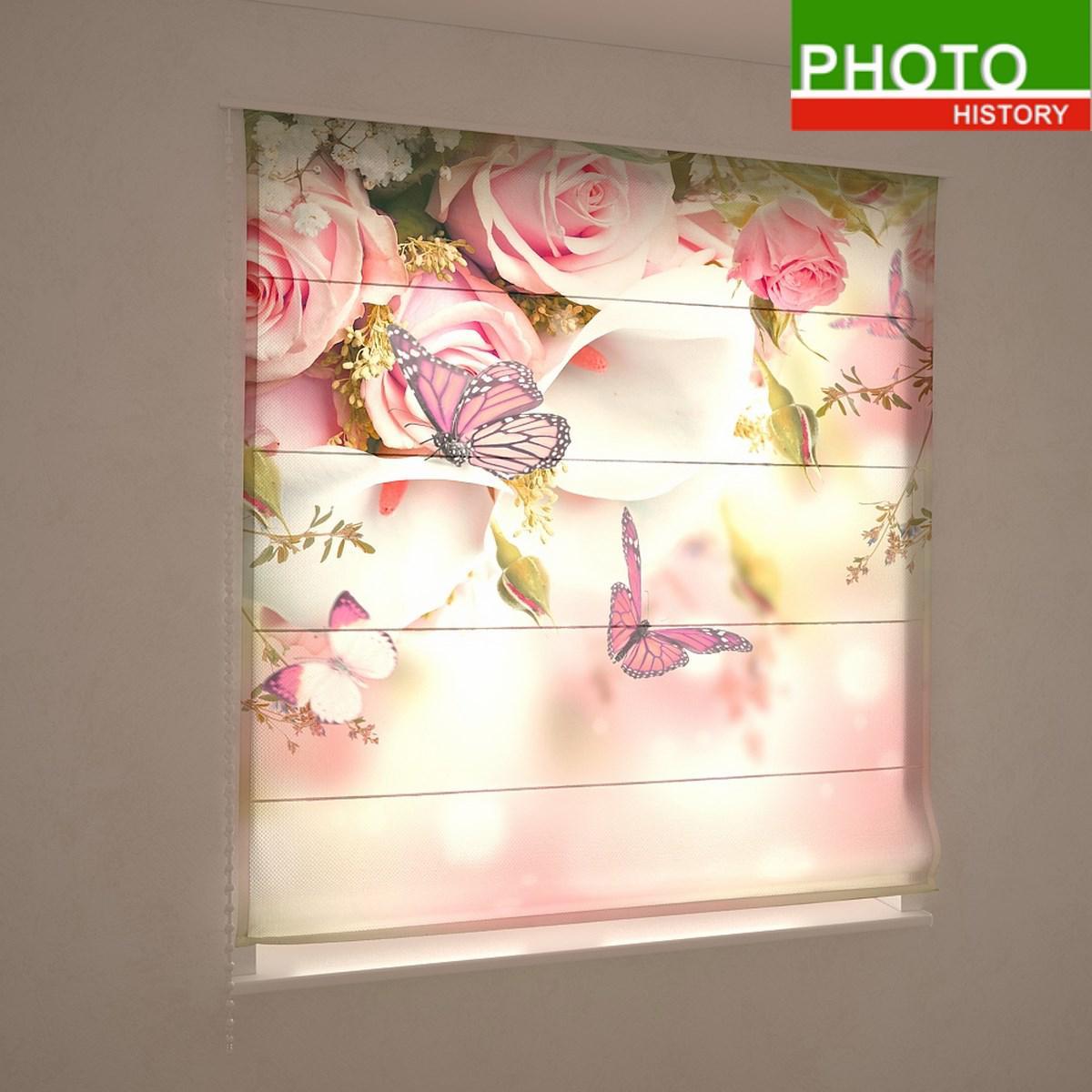 Римские фотошторы цветы бабочки на розах