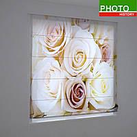 Римские фотошторы букет кремовых роз