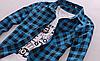 Мужская рубашка черно-голубая клетка