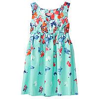 Летнее поплиновое бирюзовое платье в бабочки Crazy8 для девочки