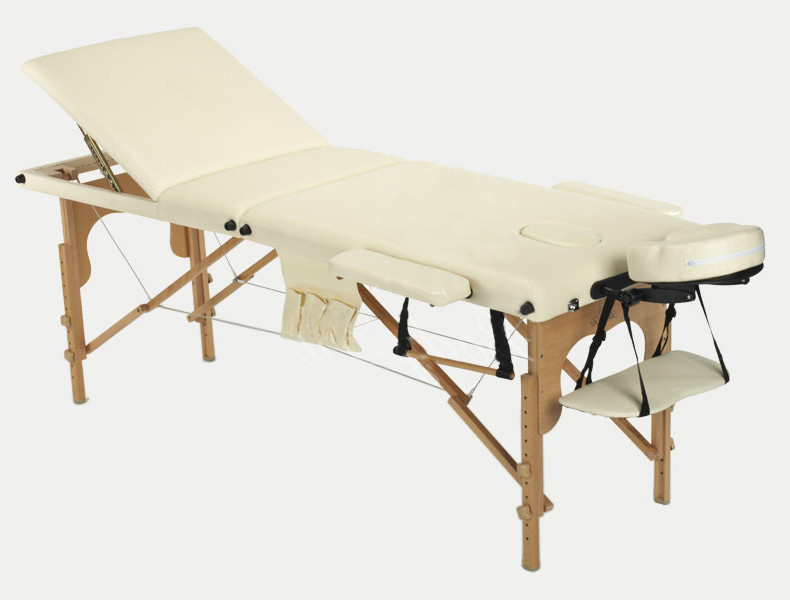 Массажный стол BodyFit, 3 сегментный,деревянный Бежевый