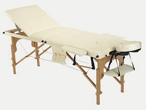 Массажный стол BodyFit, 3 сегментный,деревянный Бежевый, фото 2