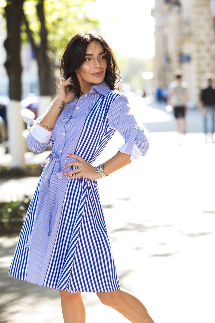 1aa77a0c830 Платье рубашка на пуговицах в полоску с поясом - Интернет-магазин одежды и  обуви
