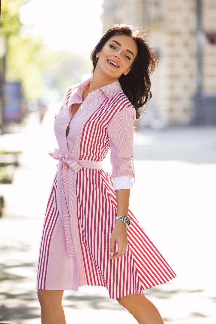 29759cb370a Платье рубашка на пуговицах в полоску с поясом