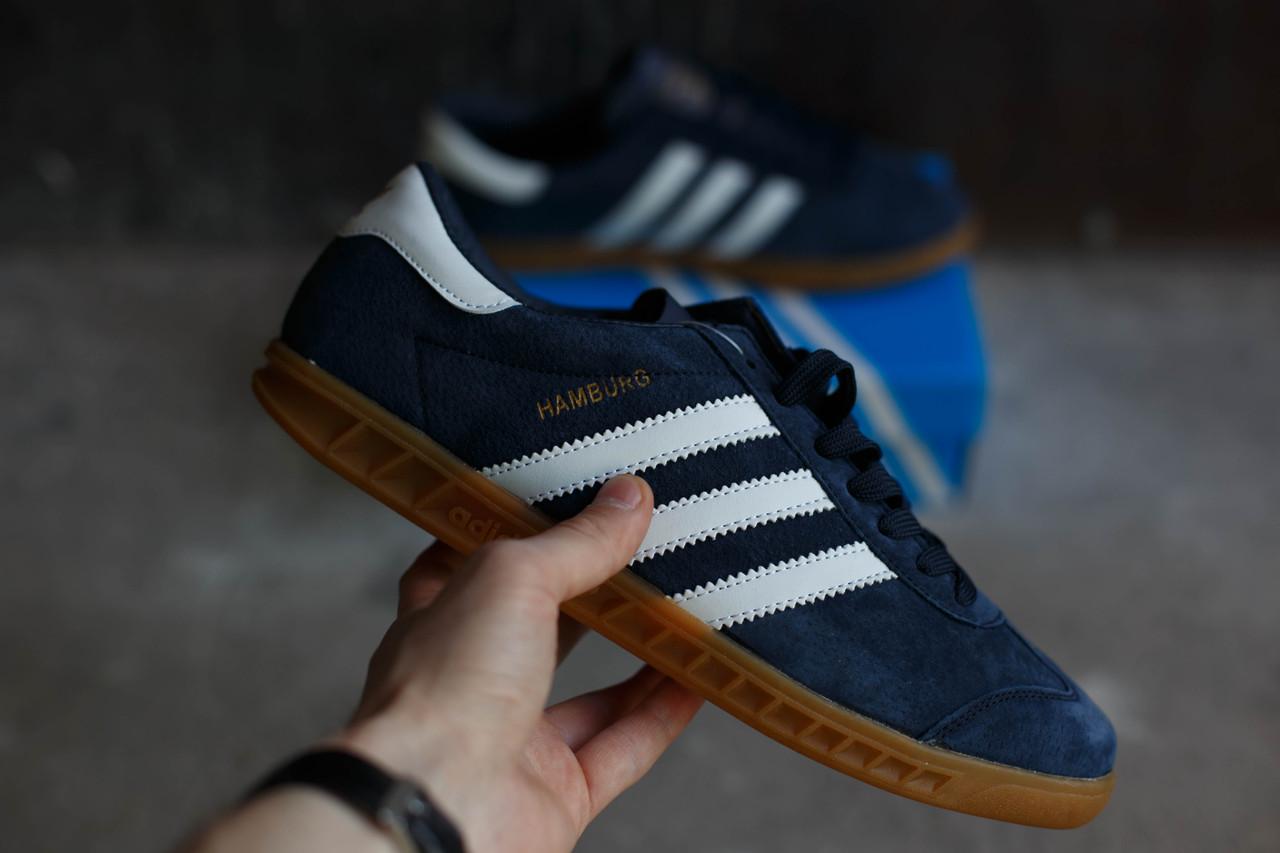 Кроссовки мужские Adidas Hamburg синяя замша