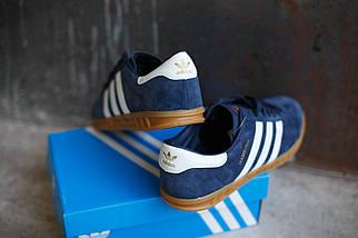 Кроссовки мужские Adidas Hamburg синяя замша, фото 3