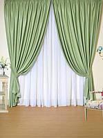 Красивые плотные шторы в гостиную оливка цвета, фото 1