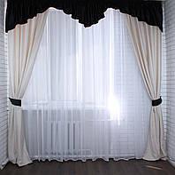 Красивые шторы с ламбрекеном для гостиной
