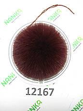 Меховой помпон Песец, Бордо, 12 см,  12167, фото 3