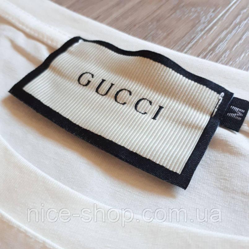 Футболка женская Gucci белая,бульдог принт, фото 2