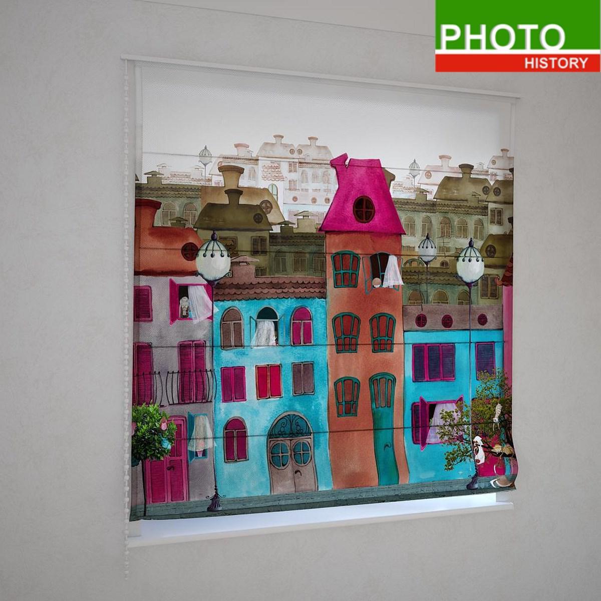 Римские фотошторы цветные домики