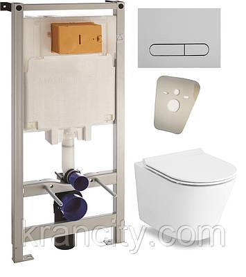Комплект: NEMO Rimless унитаз подвесной, сиденье Slim+Комплект инсталляции Volle Master 3в1 13-17-316 +121515