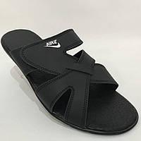 Мужские кожаные шлепки Nike / черные 40,41 р  , фото 1