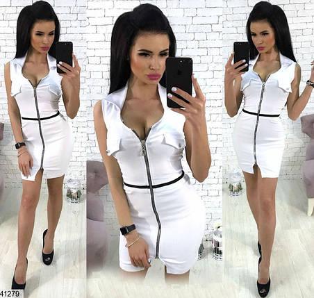 Короткое платье впереди змейка по фигуре стрейч джинс белое, фото 2