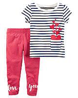 Летний комплект - лосины и футболка Carter's для девочки