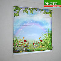 Римские фотошторы радуга над цветочной полянкой