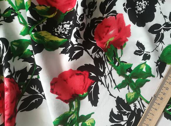 Ткань штапель принт розы на белом , фото 2