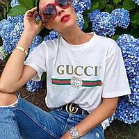 Футболка женская Gucci белая, логотип классика, фото 1