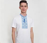 Мужская вышитая футболка Гайдамацька с синим орнаментом / размер 42-60