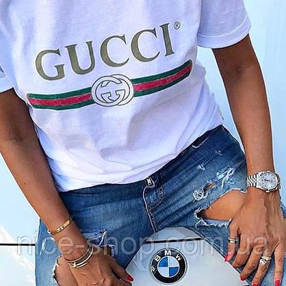 Футболка женская Gucci белая, логотип классика, фото 3