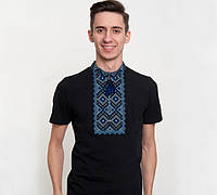 Мужская вышитая футболка Гайдамацька чорна с синим орнаментом / размер 42-44,54-56,58-60