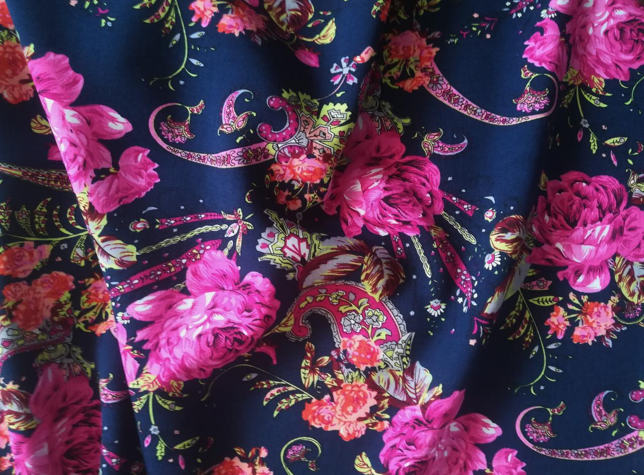 Ткань штапель принт цветы с огурцами (от 10 метров)