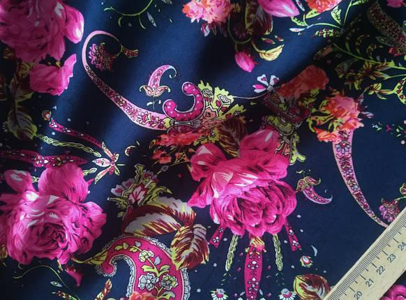Ткань штапель принт цветы с огурцами (от 10 метров), фото 2